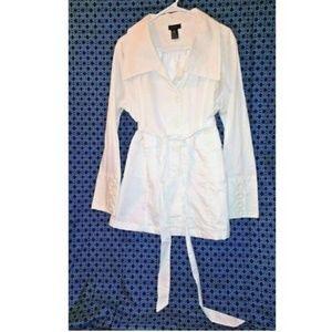 NWOT Jou Jou Womens White Pea coat jacket